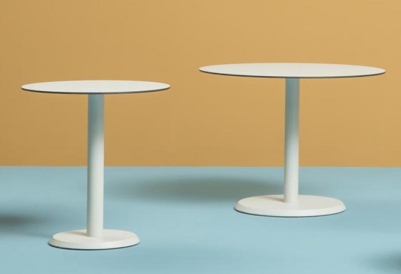 Pied de table colonne Linea Pedrali ronde chromée inox bois