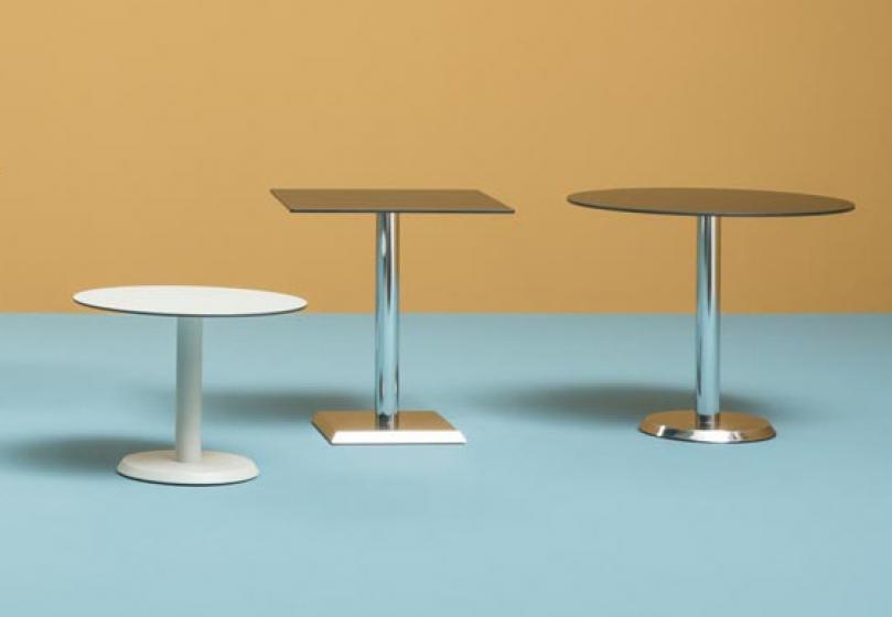 Pied de table basse Linea Pedrali ronde chromée inox laquée
