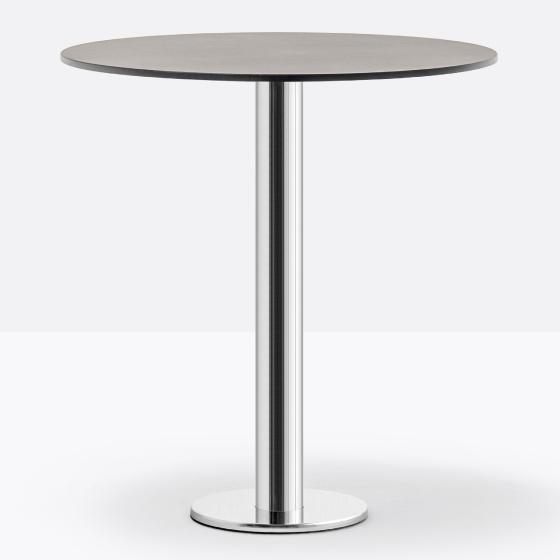 Pied de table colonne Fixe permanent Pedrali ronde chromée inox