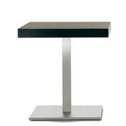 Table Basse Inox bas Pedrali inox ronde carrée teinte bois