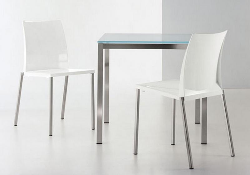 Table 4 pieds Kuadro verre pedrali acier satiné acier
