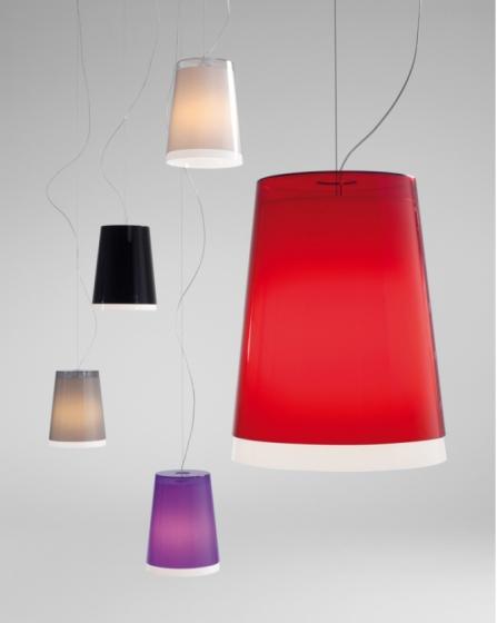 Suspension design L001S Pedrali lampe blanc noir grise beige transparent