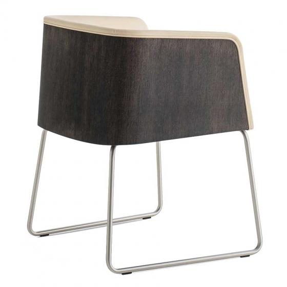 Fauteuil Allure Pedrali chromé acier satiné chene cuir tissu mobilier