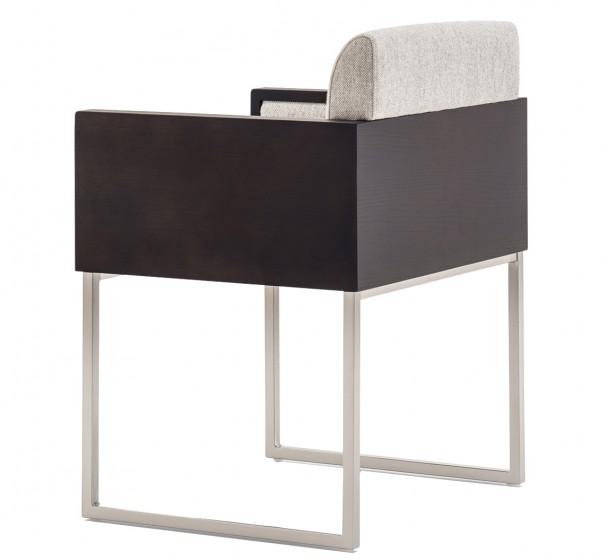 Fauteuil Box Pedrali bois chenê acier garnie promo hotel plaza mobilier