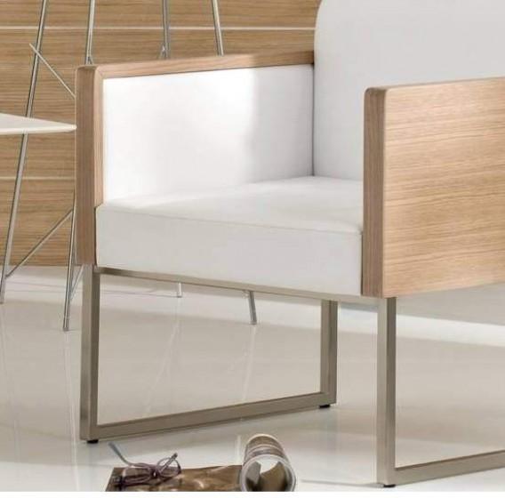 Fauteuil lounge Box Pedrali acier satiné bois garnie promo hotel