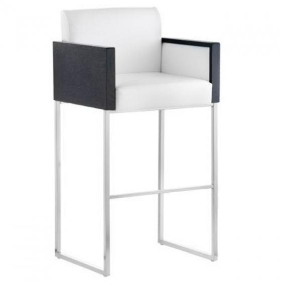Chaise haute Box Pedrali acier satiné bois garnie promo hotel cafe