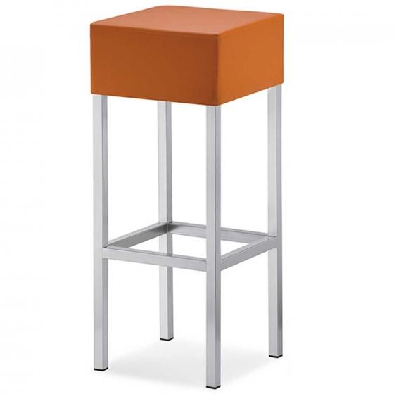 tabouret Cube Pedrali tissu cuir acier chromé satiné laqué mobilier