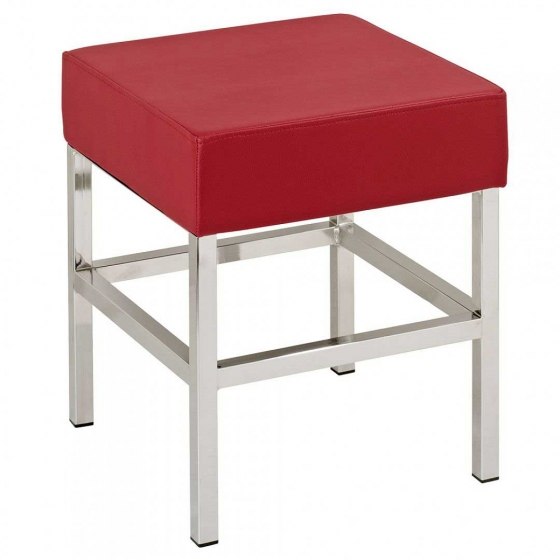 tabouret Cube XL Pedrali tissu cuir acier chromé satiné laqué mobilier