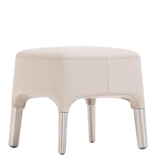 Pouf Ester Patrick Jouin Pedrali velour tissu cuir aluminium mobilier
