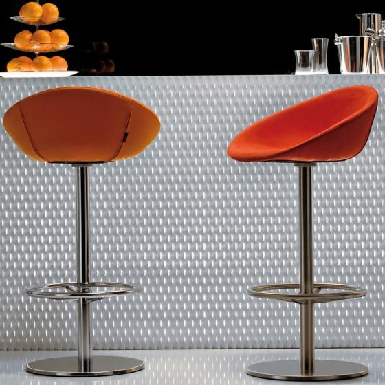 Tabouret Gliss pedrali assise garnie pivotant cuir naturel plaza mobilier