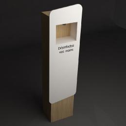 distributeur automatique de gel V-korr savon hydro alcoolique desinfectant sans contacts Gel express totem niche