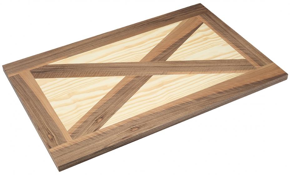 Plateau de table bois naturel marqueterie teinte bois aux choix personnalisable plateau bistro rustique