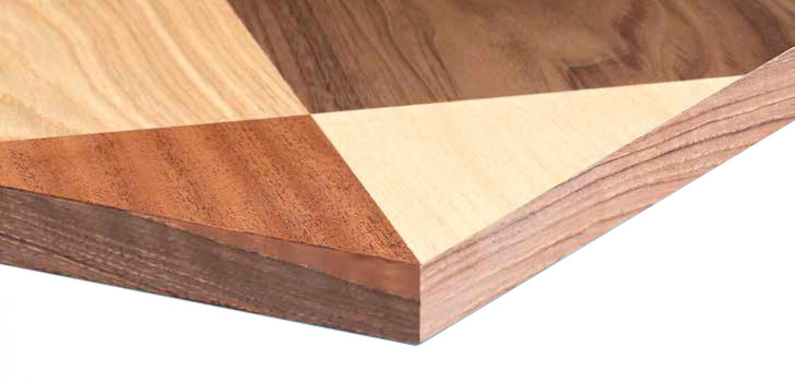 Plateau de table Class v marqueterie damier jeu essences de bois