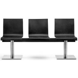 kuadra pedrali design banc chêne wengé inox mobilier salle d'attende banc 3 places banc 4 places banc 5 places