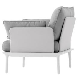Fauteuil jardin design lounge Reva Patrick Jouin Pedrali confort coussin assise garnie blanc sable