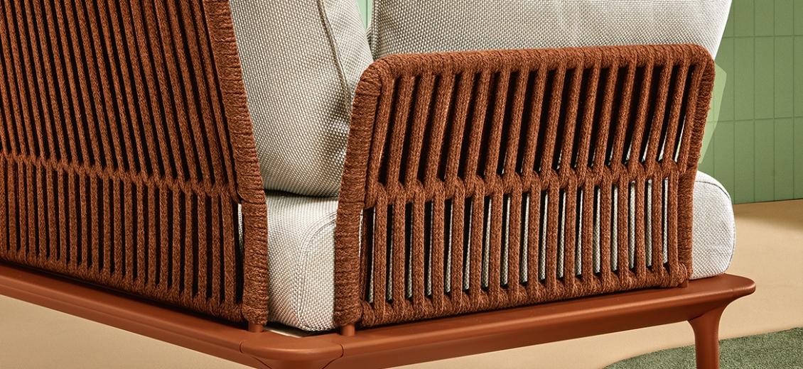 Fauteuil extérieur Reva Twist Patrick Jouin Pedrali Aluminium textylene corde plate Coussins en mousse tissu imperméable