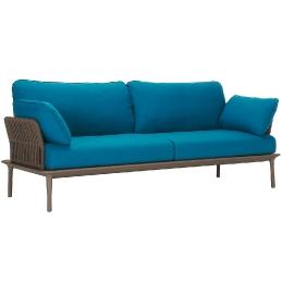 Canapé extérieur Reva Twist Patrick Jouin Pedrali Aluminium textylene corde plate Coussins en mousse polyuréthane tissu imperméa