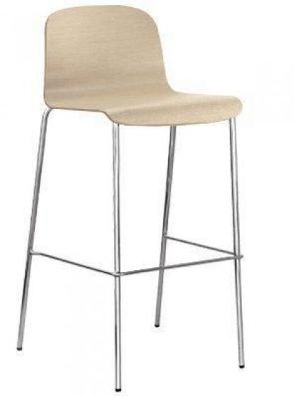 Chaise haute Trend 449 Pedrali empilable tube acier chromé assise bois usage intensif dans le secteur du CHR café hôtel restaur