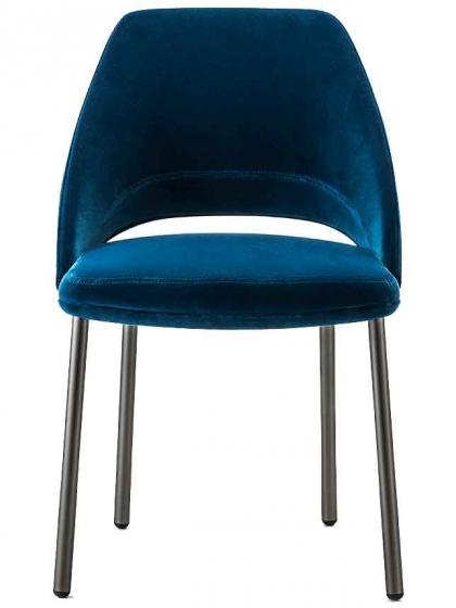 chaise vic métal pedrali acier laqué chromé cuir velour élégant 657